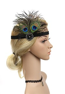 Повязка на голову с перьями павлина