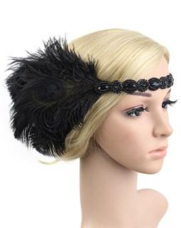 Повязка на голову с черными перьями и камнями