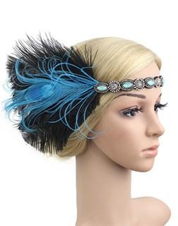 Повязка на голову с голубыми перьями и камнями