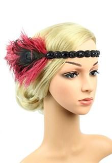 Повязка на голову с бордовыми перьями и камнями