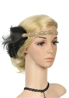 Повязка на голову с золотая с черными перьями и камнями