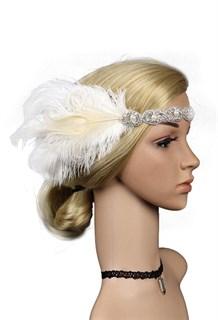 Повязка на голову с перьями и камнями белая
