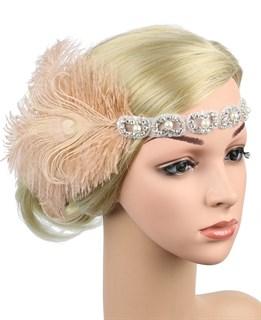 Повязка на голову с перьями и камнями кремовая