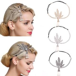 Повязка на голову с камешками серебряная