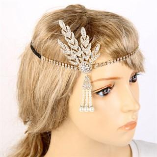 Повязка на голову с камешками золотая