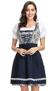 Длинное платье баварки в цветочек с темно-синим фартуком