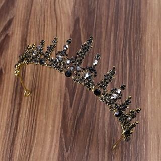 Золотая тиара с черными камнями. 3711
