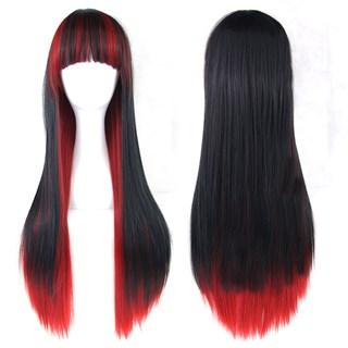 Парик длинные прямые волосы с челкой. Черно-красный