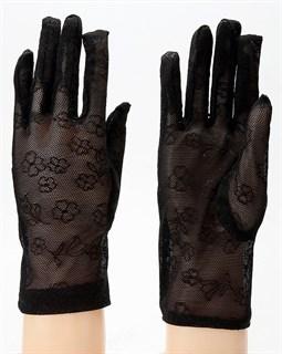 Черные перчатки в сетку с цветочками