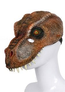 Мягкая полумаска динозавра 3D. Коричневая