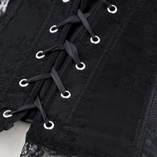 Черный гипюровый корсет с рукавами - фото 19233