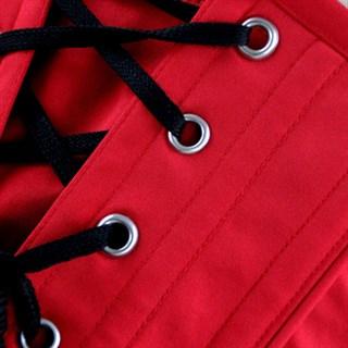 Красный винтажный корсет под грудь с вышивкой - фото 19336