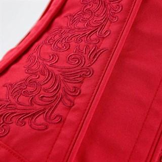 Красный винтажный корсет под грудь с вышивкой - фото 19337
