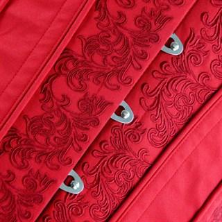 Красный винтажный корсет под грудь с вышивкой - фото 19338