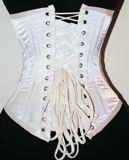 Белый атласный утягивающий корсет под грудь - фото 19375