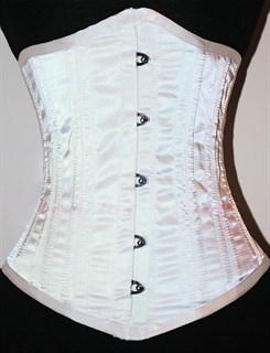 Белый атласный утягивающий корсет под грудь - фото 19377