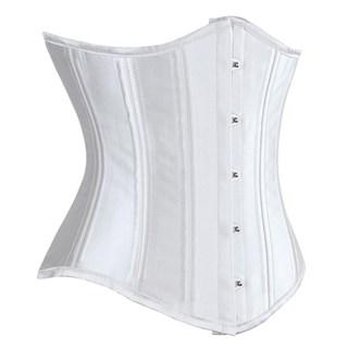 Белый атласный утягивающий корсет под грудь - фото 19379