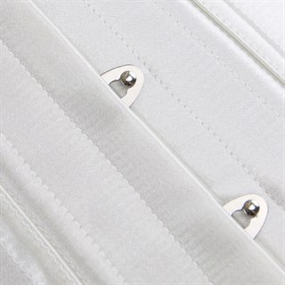 Белый атласный утягивающий корсет под грудь - фото 19383
