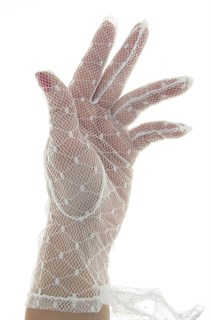 белые перчатки в сетку короткие