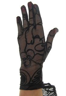 Короткие перчатки сетка с бархатным рисунком. Черные - фото 19412