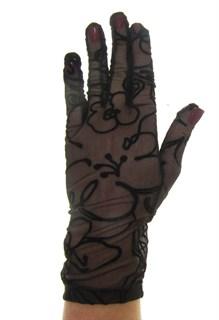 Короткие перчатки сетка с бархатным рисунком. Темно-коричневые - фото 19416