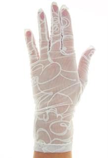 Короткие перчатки сетка с бархатным рисунком. Белые