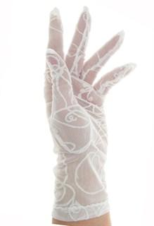 Длинные перчатки сетка с бархатным рисунком. Белые - фото 19423