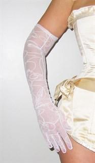 Длинные перчатки сетка с бархатным рисунком. Белые