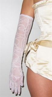 Длинные перчатки сетка с бархатным рисунком. Белые - фото 19425