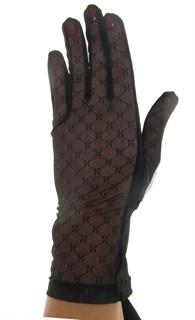 Черные короткие перчатки сетка с трикотажем. 3790