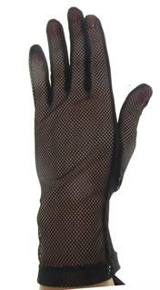 Черные короткие перчатки крупная сетка с трикотажем. 3791