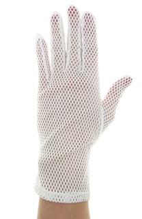 Белые короткие перчатки крупная сетка. 3792