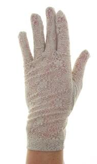 Короткие перчатки из плотного кружева. Бежевые - фото 19451
