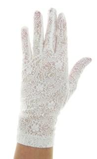 Короткие перчатки из плотного кружева. Белые - фото 19458