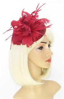 Шляпка с большим перьевым цветком Беатрис. Марсала - фото 19493