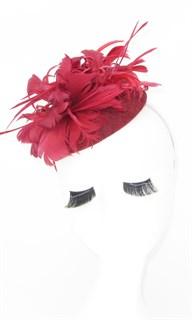 Шляпка с большим перьевым цветком Беатрис. Марсала - фото 19496