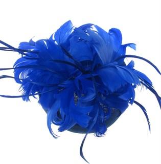 Шляпка с большим перьевым цветком Беатрис. Синяя - фото 19502