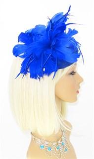 Шляпка с большим перьевым цветком Беатрис. Синяя - фото 19504