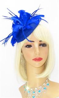 Шляпка с большим перьевым цветком Беатрис. Синяя - фото 19505