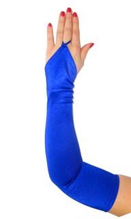 Длинные атласные перчатки на один палец. Синие электрик