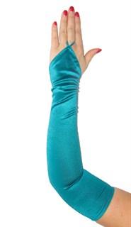 Длинные атласные перчатки на один палец. Цвет морской волны