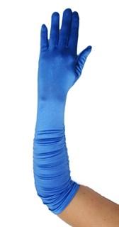 Темно-голубые атласные перчатки со сборкой до локтя