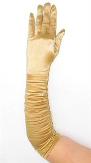Золотые атласные перчатки со сборкой до локтя