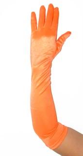 Длинные атласные перчатки оранжевые. 55 см