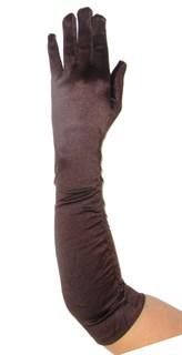 Атласные перчатки со сборкой до локтя холодный шоколад