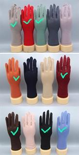 Трикотажные тонкие перчатки 22см. Разные цвета