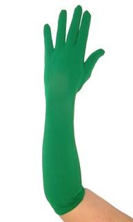 Зеленые трикотажные матовые перчатки по локоть