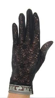 Летние перчатки с сердечками. Кружево+трикотаж. Черные