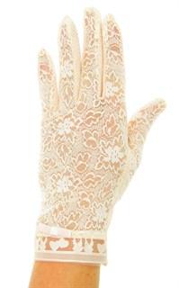 Летние перчатки с сердечками. Кружево+трикотаж. Пудра