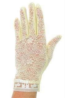 Летние перчатки с сердечками. Кружево+трикотаж. Светло-желтые